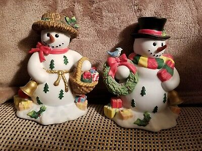 PartyLite Snowbell Taper Candle Holder Pair Snowman SnowLady 5in Boxed Retired