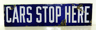 Early original porcelain strip sign from a TROLLEY CAR BARN  NICE!