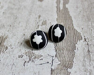 076588191f94d VINTAGE BLACK & White Mary Quant Fabric Button Earrings. Stud, Upcycled,  Floral.