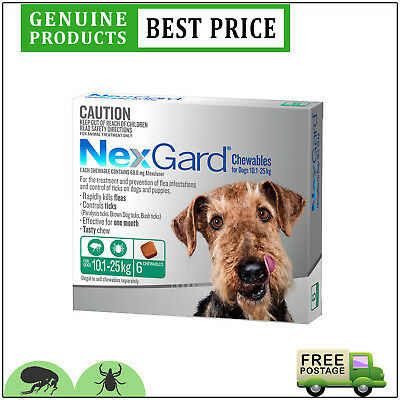 NEXGARD NEXGUARD Green Flea and Tick Treatment For Dogs 10.1 to 25 Kg 6 Doses