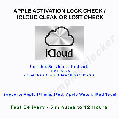 Find My iPhone FMI iCloud Activation Clean Lost Status Service iPhone iPad Watch