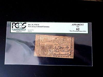 New Jersey December 31, 1763 3s Three Shillings PCGS Apparent New 62.