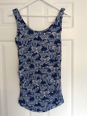New Look Maternity Blue Butterfly Vest Top Size 12