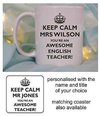 Personalised Awesome Teacher Mug Cup End Of Term Leaving Thank You School Gift