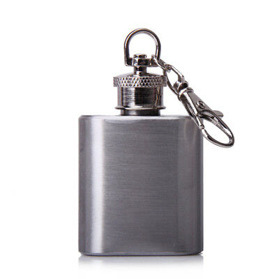 1oz Portable Stainless Steel Metal Hip Flask Key Chain Silver