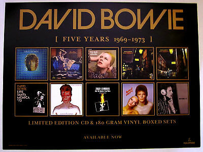 DAVID BOWIE Five Years 1969-1973 Vinyl CD Remastered Reissues PROMOTIONAL POSTER