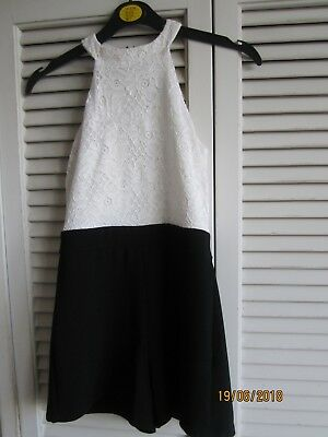Girls New Look Black And White Playsuit Age 9 Years Good Condition