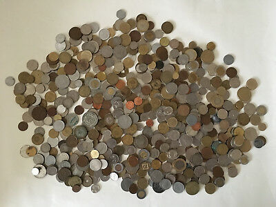 Mixed Lot Of Foreign WORLD Coins 6 PLUS Pounds EXCITING VTG OLD CIRCULATED fun