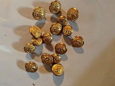 """16 BRASS US COAST GUARD UNIFORM COAT BUTTONS Unmarked 6 at 1/2"""" 10 at 3/4"""""""
