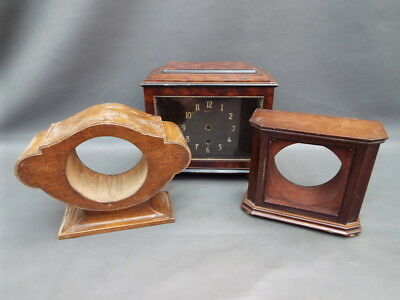 Job lot of 3 vintage wooden empty mantle clock cases - parts spares craft work