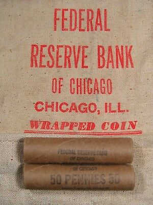 (ONE) Uncirculated FRB Chicago Lincoln Wheat Cent Penny Roll 1909-1958 PDS (25)