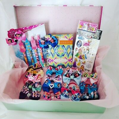 Large Gift Box Of Girls Bobbles Disney Princess Hair Bows For Bunches Hamper