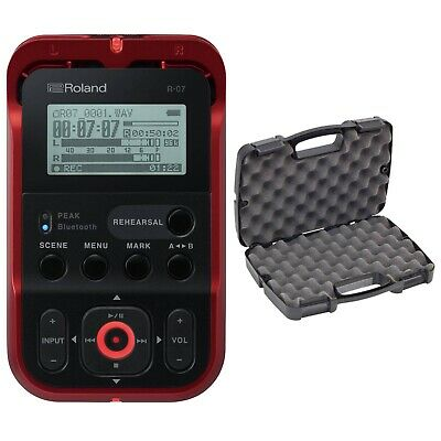 Roland R-07-BK High-Resolution Portable Audio Recorder in Red + Carry Case