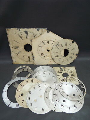 Job lot of 14 vintage clock dials and chapter rings for spares and parts