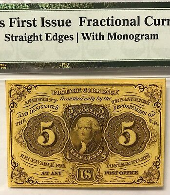 FR 1230 5 Cents First Issue Fractional Currency Note PMG Choice UNC 63 EPQ 1862