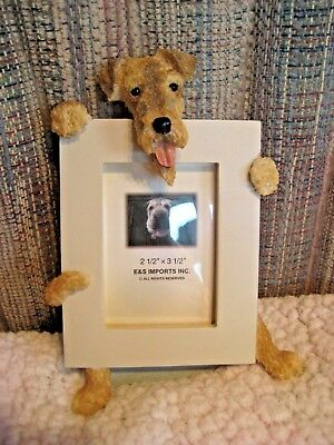 """E & S Imports Airedale Dog Photo Picture Frame 2-1/2"""" X 3-1/2"""" NEW in box"""