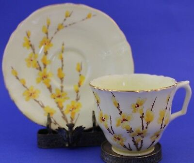 VTG Crown Staffordshire Bone China Porcelain Yellow Floral Tea Cup Saucer Set