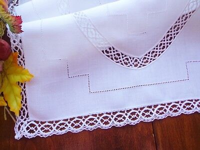 """Antique White Linen Table Runner With  Lace Insertions & Drawn Work 23"""" X 15"""""""