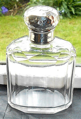 Antique Silver & Glass Perfume Bottle London 1908