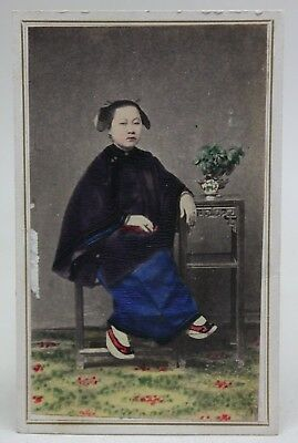 Original ANTIQUE 1870/80's PHOTO CDV Albumen Tinted CHINA CHINESE WOMAN/ COSTUME