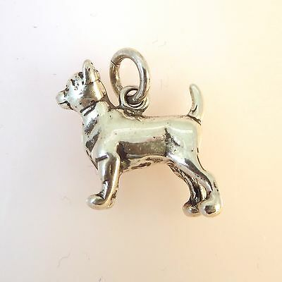 .925 Sterling Silver 3-D Heavy CHIHUAHUA CHARM NEW Puppy Dog Pendant 925 DG27