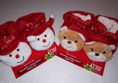 My First Christmas Baby Soft Plush Booties Slipper Socks Santa OR Bears 0-6 mos