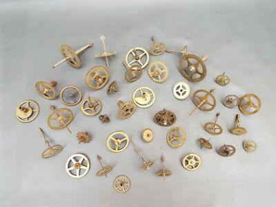 Job lot of 40 vintage clock parts cogs gears wheels etc - steampunk craft spares