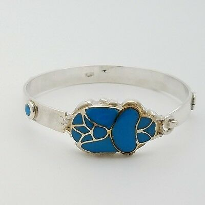 Antique Sterling Silver & Turquoise Inlay Scarab Beetle Station 7' Inch Bracelet