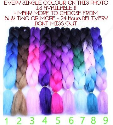 "U.K  24"" Ombre Dip Dye Kanekalon Jumbo Braid Hair Extensions 1st Class Delivery"