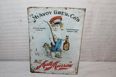 "Rare Vintage 1899 McAvoy Beer Pre Prohibition Chicago 14"" Embossed Metal Sign"