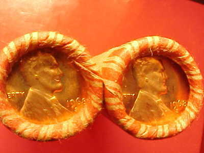 """""""2"""" 1968-S Obw Original Bank Wrapped Rolls Bu Uncirculated Lincoln Cent Pennies"""