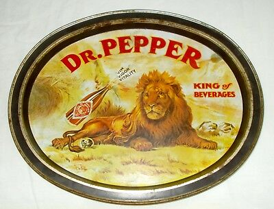 Vintage Dr Pepper Metal Oval Tray King of Beverages Soda Advertising Collectible
