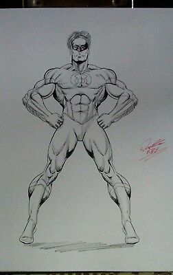Green Lantern PENCIL & INK SKETCH ORIGINAL COMIC ART by Keyeske