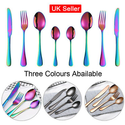 4 x Rainbow Gold Stainless Steel Cutlery Tableware Kitchen Dining Sets Spoon UK