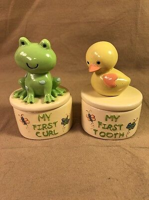 New Two Infant Baby Trinket Boxes for First Curl & First Tooth Frog Chick