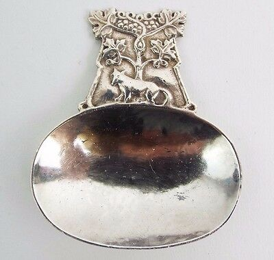 A E Jones Caddy Spoon FINE Solid Sterling Silver Aesops Fable Arts & Crafts 1916
