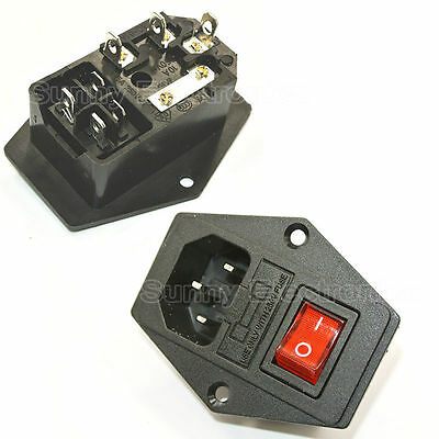 1PCS RED LED Rocker Switch Fuse Holder IEC320 C14 Inlet Power Socket AC250V 10A