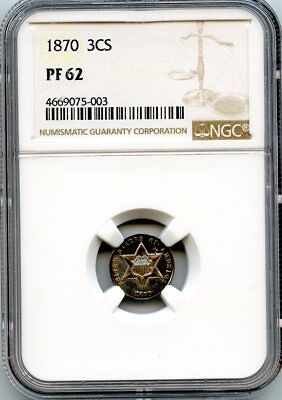 C10089- 1870 Proof Three Cent Silver Ngc Pf62 - 1,000 Minted