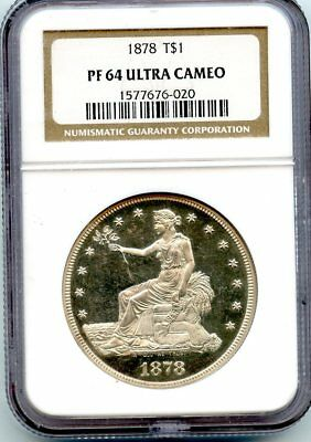 C10098- 1878 Proof Trade Dollar Ngc Pf64 Ultra Cameo - 900 Minted - Ngc Pop 1/3