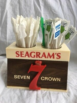 Rare Seagram's Seven Crown Whiskey Embossed Straw/Stir Holder Sign With EXTRAS