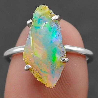 Natural Ethiopian Opal Rough 925 Sterling Silver Ring Jewelry s.7.5 SDR30238