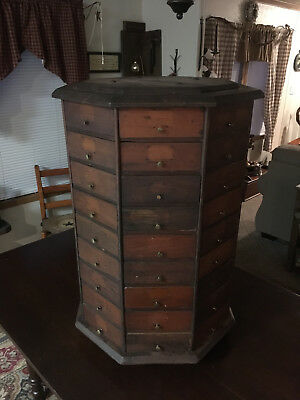 Antique Octagon Rosewood Color Revolving Store Cabinet Display With 72 Drawers