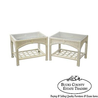 Link Taylor Pair of White Painted Glass Top Side Tables