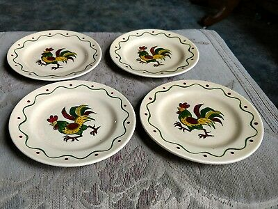 Metlox Poppytrail Provincial Calif. Green Rooster Bread & Butter Plates Set of 4