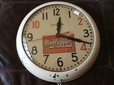 Rare Vintage Dr. Pepper General Electric 10-2-4 Advertising Clock-100% Original