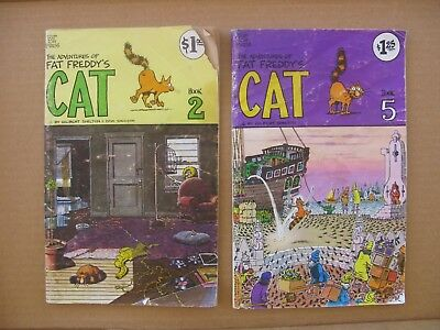 Fat Freddy's Cat Books 1 and 5 Reading Copies Fair Cond. Gilbert Shelton