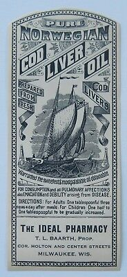 Antique Norwegian Cod Liver Oil Bottle Label,The Ideal Pharmacy Milwaukee, WI