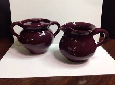 Old Cornelison plum colored Creamer Pitcher, suger bowl, round Stamp, Bybee ky