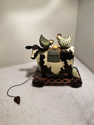 Williraye Studio Cow With Chicken And Golden Egg Pull Toy WW1427