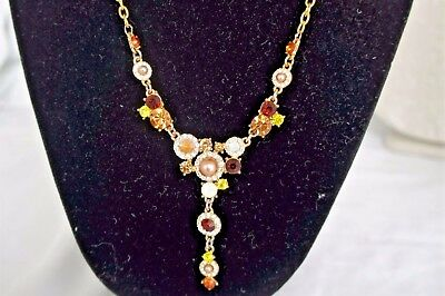 Vintage Elegant Multicolor Faceted Rhinestone, faux Pearl Necklace - #0129